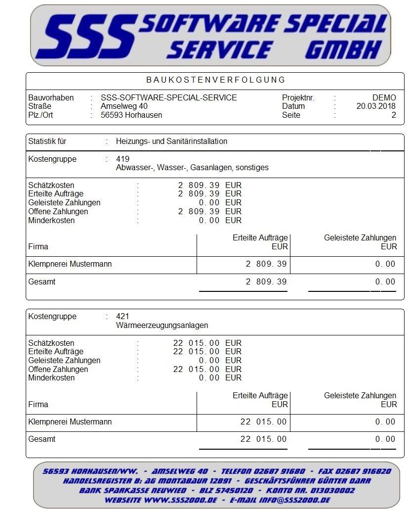 Bau Kostenverfolgung Sss2000