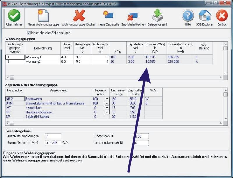 NL-Zahl-Berechnung Mehrfamilienhaus nach DIN 4708 - SSS2000